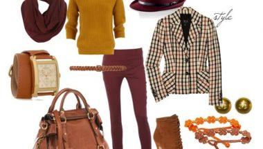outfit Borgogna Senape